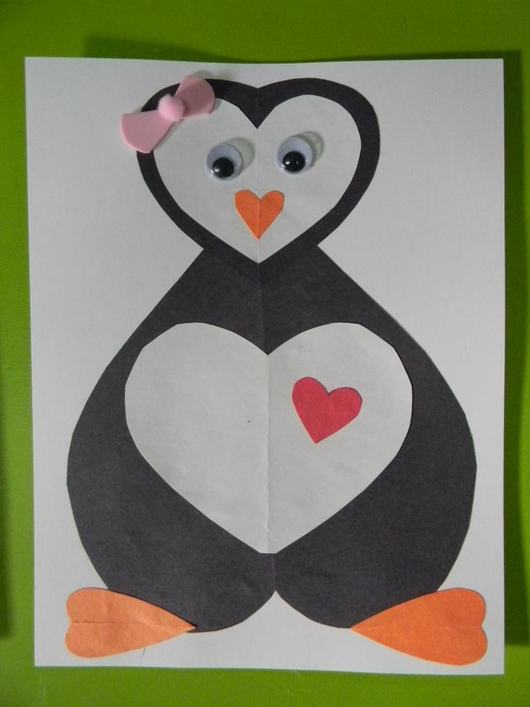 Pingouin en formes de coeur